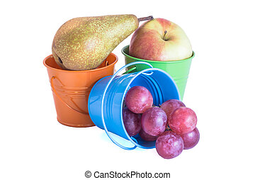 Fruit mix in colored tin buckets
