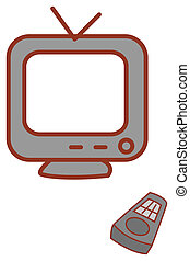 TV - an old TV isolate in a white background