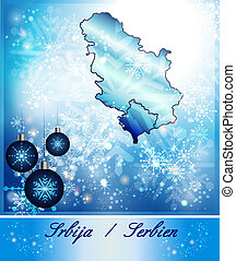 Map of Serbia in Christmas Design in blue