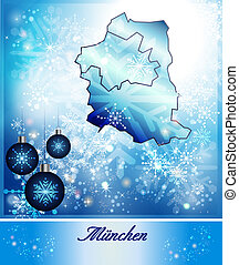 Map of Muenchen in Christmas Design in blue