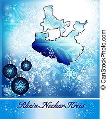 Map of Rhein-Neckar-Kreis in Christmas Design in blue