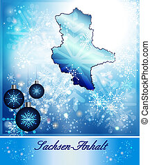 Map of Saxony-Anhalt in Christmas Design in blue