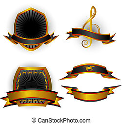 Set of vector emblems and banners - Set of black vector...