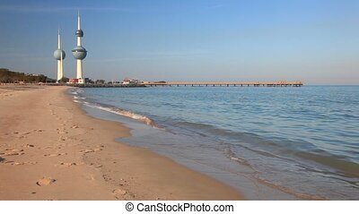 Kuwait Towers - Arabian Gulf beach and the Kuwait Towers