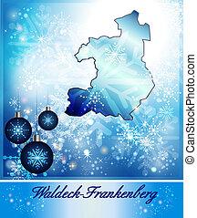Map of Waldeck-Frankenberg in Christmas Design in blue