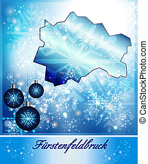 Map of Fuerstenfeldbruck in Christmas Design in blue