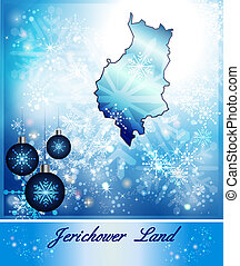 Map of Jerichower-Land in Christmas Design in blue