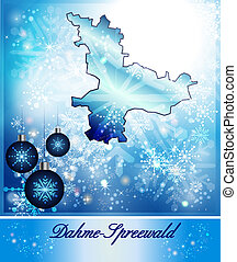 Map of Dahme-Spreewald in Christmas Design in blue