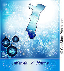Map of Alsace in Christmas Design in blue