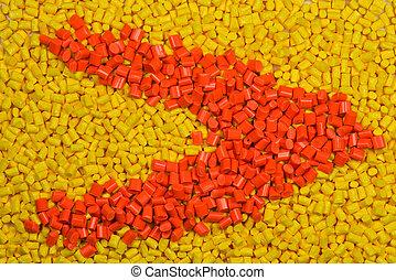 amarillo, y, naranja, teñido, polímero,...