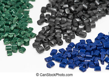 blue, green and grey plastic granulates