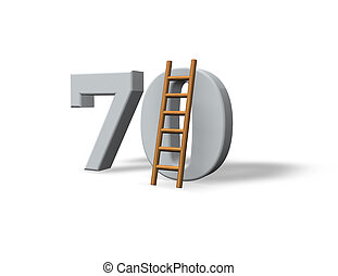 seventy - the number seventy - 70 - and a ladder on white...