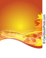 autumn flyer - abstract orange autumn flyer design with...