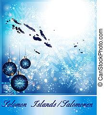 Map of solomon islands in Christmas Design in blue