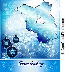 Map of Brandenburg in Christmas Design in blue