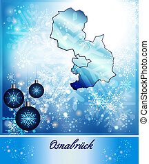 Map of Osnabrueck in Christmas Design in blue