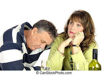 Arguing Couple - Dejected middle aged couple after having...