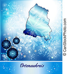 Map of Ortenaukreis in Christmas Design in blue