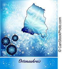 Map of Ortenaukreis in Christmas Design in blue