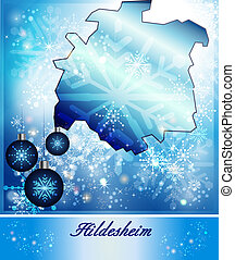 Map of Hildesheim in Christmas Design in blue