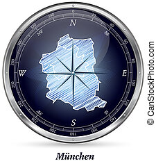 Map of Muenchen with borders in chrome