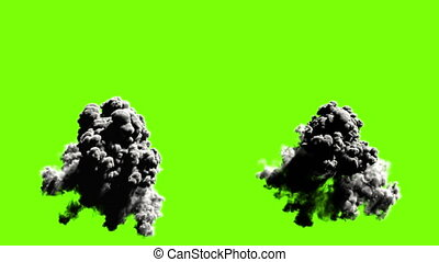 Explodes on green background, five options realistic 3d...