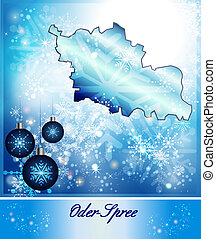 Map of Oder-Spree in Christmas Design in blue