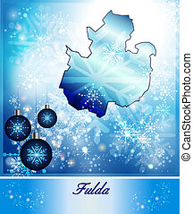 Map of fulda in Christmas Design in blue