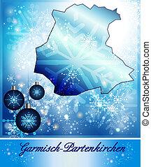 Map of Garmisch-Partenkirchen in Christmas Design in blue