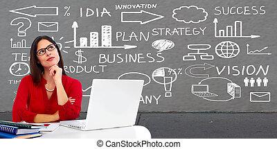 Business woman looking scheme. - Beautiful Business woman in...