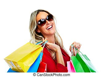 Beautiful woman with shopping bags - Beautiful young blond...