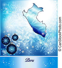 Map of Peru in Christmas Design in blue
