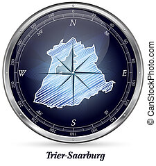 Map of Trier-Saarburg with borders in chrome