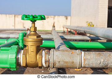 Valve mounted on rooftop industry building .