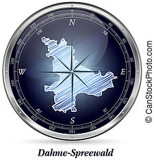 Map of Dahme-Spreewald with borders in chrome