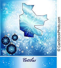 Map of cottbus in Christmas Design in blue