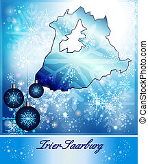 Map of Trier-Saarburg in Christmas Design in blue