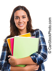 Student - Young student posing over a white background