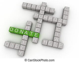 3d imagen Donate issues concept word cloud background