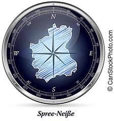 Map of Spree-Neisse with borders in chrome