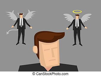 Angel and Devil in Businessman's Miind