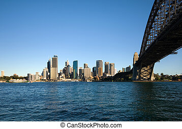 Sydney Harbour Bridge and CBD - The huge steel structure of...
