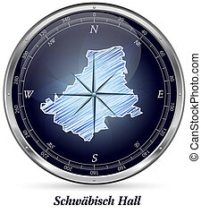 Map of Schwaebisch-Hall with borders in chrome