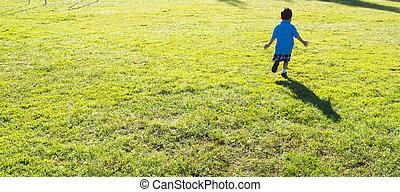 blurr shot of little boy running in the grass field. - blurr...