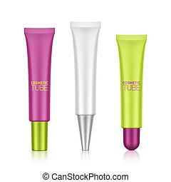Cosmetic tube - Plastic tube with screw caps template