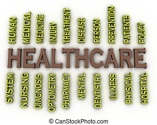 3d image Healthcare issues concept word cloud background