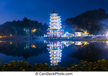 Lake view with Two Pagodas In Kaohsiung