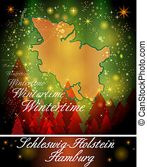 Map of Schleswig-Holstein in Christmas Design