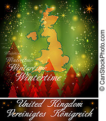 Map of England in Christmas Design