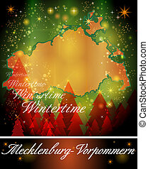 Map of Mecklenburg-Western Pomerania in Christmas Design